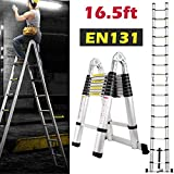 16.5ft Aluminum Telescoping Extension Ladder A-Frame Lightweight Portable Multi-Purpose Folding with...