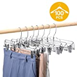 HOUSE DAY 100 Pack 14 inch Clear Plastic Skirt Hangers with Clips, Skirt Hangers, Clip Hangers for...