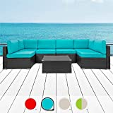 Walsunny 7pcs Patio Outdoor Furniture Sets,Low Back All-Weather Rattan Sectional Sofa with Tea...
