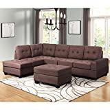 Harper & Bright Designs 3 Piece Sectional Sofa Couch Microfiber with Reversible Chaise Lounge...
