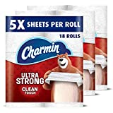 Charmin Ultra Strong Clean Touch Toilet Paper, 18 Family Mega Rolls (Equal to 90 Regular Rolls)