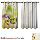 WilliamsDecor Mardi Gras Outdoor Balcony Privacy Curtain Festival Mask with Ornamental Feathers...