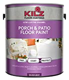 KILZ L573611 Interior/Exterior Enamel Porch and Patio Latex Floor Paint, Low-Lustre, Silver Gray,...