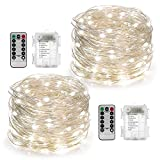 YIHONG 2 Set Fairy Lights Battery Operated 50LED String Lights Remote Control Timer Twinkle String...