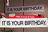 IT is Your Birthday Banner from The Office by Schrute - Vinyl Party 72 inches Banner with Metal...