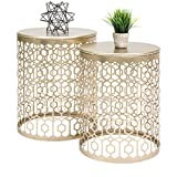 Best Choice Products Round Nesting Accent Tables, Geometric Detail Decorative Nightstands, Side, End...