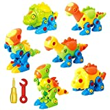 Dinosaur Toys Take Apart Toys With Tools (218 pieces) - Pack of 6 Dinosaurs With 12 Tools -...