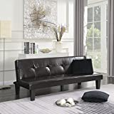 Belleze Convertible Sofa Faux Leather Futon Bed Sleeper Adjustable Backrest Couch w/ (2) Toss...