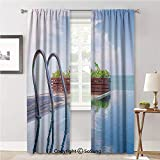 RWNFA Curtains Durable Privacy Protected,Swimming Pool Caribbean Poolside Plants Summertime...