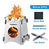 TOMSHOO Camping Wood Stove Portable Folding Lightweight Stainless Steel Wood Burning Backpacking...