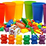 Skoolzy Rainbow Counting Bears with Matching Sorting Cups, Bear Counters and Dice Math Toddler Games...