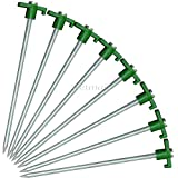 SE 8 Pack Tent Stakes Pegs Heavy Duty Nail Head 10' Solid Steel Metal Bounce House