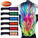 Runlong Hair Chalk Comb 6 Colors, Temporary Hair Color Dye for Teen Girls, Cosplay, Halloween, Ball...