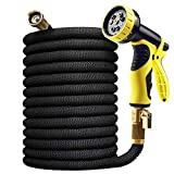 Delxo 100FT Expandable Garden Hose Water Hose with 9-Function High-Pressure Spray Nozzle,Black Heavy...