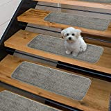 Sweethome Stores Non-Slip Shag Carpet Stair Treads, (9'X26')-5 Pack- Grey Solid
