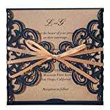 WISHMADE Navy Blue Rustic Square Laser Cut Wedding Invitations Cards with Bow Lace Sleeve Cards for...