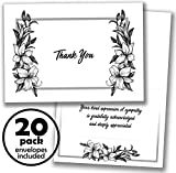 20 Funeral Thank You Cards - Notes with Envelopes and Sympathy Acknowledgment Message Inside by...
