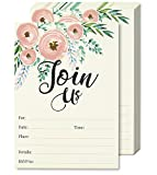 Watercolor Join Us Invitation Cards - 50 Fill-in Floral Classy Invites with Envelopes for Kids...
