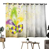 Mannwarehouse Mardi Gras Privacy Curtain Festival Mask with Ornamental Feathers Colorful Dots...