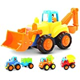 Friction Powered Cars Push and Go Car Construction Vehicles Toys Set of 4 Tractor,Bulldozer,Cement...