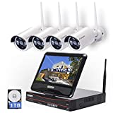 All in one with 10.1' Monitor Wireless Security Camera System, Cromorc Home Business CCTV...