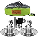 Bisgear 20pcs Stainless Steel Tableware Mess Kit Includes Plate Bowl Cup Spoon Fork Knife Chopsticks...