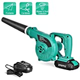Cordless Leaf Blower - KIMO 20V Lithium 2-in-1 Sweeper/Vacuum 2.0 AH Battery for Blowing Leaf,...