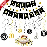30th Birthday Decorations Kit for Men & Women 30 Years Old Party, NO Assembly Required - Black Gold...