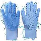 2 in 1 Magic Silicone Gloves, Dishwashing Cleaning Gloves & Heat Resistant Oven Gloves, with Wash...