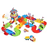 FUN LITTLE TOYS 189 PCs Train Sets with Variable Railway Tracks, Electric Toy Trains with Lights and...