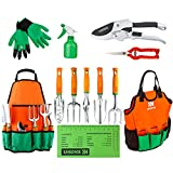 UKOKE Garden Tool Set, 12 Piece Aluminum Hand Tool Kit, Garden Canvas Apron with Storage Pocket,...