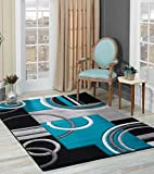 Golden Rugs Soft Black-Turquoise Hand Carved - Modern Contemporary (5'2' x 7'5') Floor Rug with...