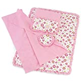 Fits 18' American Girl Dolls | Reversible Floral Print Bedding Set with Comforter, 3 Pillows and...