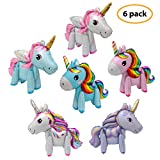 6 Pack 3D Unicorn Balloons Walking Animal Balloons Aluminum Foil Balloons for Birthday Party, Baby...