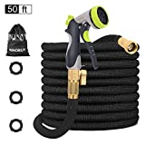 WHOBUY 50 FT Upgraded Flexible Garden Hose with 8-Patterns Spray Nozzle and Hose Storage Bag, 3/4'...