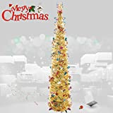 Joy&Leo 5 Foot Pop Up Joy Sequin Silver Tinsel Christmas Tree, Easy to Assemble, for Small Spaces &...