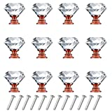 Wendy Direct 12 Pack Drawer Knobs Diamond Shaped Crystal Glass 30mm Cabinet Knobs Pull Handles (Rose...