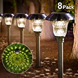 Solar Lights Bright Pathway Outdoor Garden Stake Glass Stainless Steel Waterproof Auto On/off White...