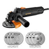 Meterk Electric Angle Grinder 6A 4-1/2inch with 115mm 3 Grinding Abrasive Wheels 3 Cutting Abrasive...