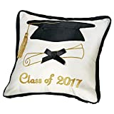 Collections Etc Class of 2017 Graduation Pillow with Zipped Pocket to Hold Money/Gift Card, White