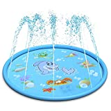 LEEHUR 67' Sprinkle and Splash Play Mat Outdoor Summer Water Play Pad Toy Swimming Party Gift for...