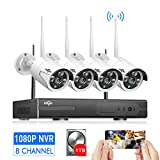 [Expandable 8CH]Wireless Security Camera System Outdoor, HisEEu 8 Channel 1080P NVR 4Pcs 960P 1.3MP...