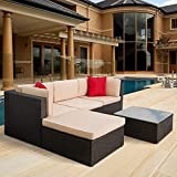 5 Pieces Patio Furniture Sectional Set Outdoor All-Weather PE Rattan Wicker Lawn Conversation Sets...