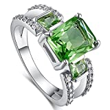 Narica Women's Charming Vintage Emerald Cut Green Amethyst CZ Wedding Ring Band