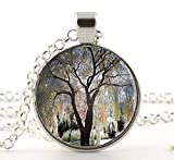 Weeping Willow Tree Necklace, Tree Jewelry Glass Photo Cabochon Necklace, Glass Dome Pendant...