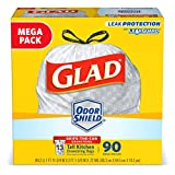 Glad OdorShieldTall Kitchen Drawstring Trash Bags -13 Gallon White Trash Bag - 90 Count (Packaging...