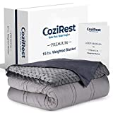 CoziRest Cooling Weighted Blanket - 15 lbs - 60x80' Queen Size - Cool Bamboo & Cozy Minky Dual-Sided...