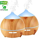Essential Oil Diffuser XFelectronics 2 pack 250ml Diffusers for Essential Oils Wood Grain...