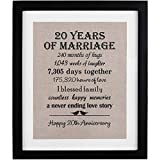 20th Anniversary Love Birds Burlap Print with Frame, 20 Year Wedding Anniversary Gifts, 20th...