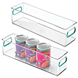 mDesign Plastic Stackable Food Storage Container Bin with Handles for Kitchen, Pantry, Cabinet,...